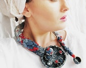 Gap in the clouds - statement mixed media collage, contemporary, hand embroidered, fabric, hand dyed, organic necklace