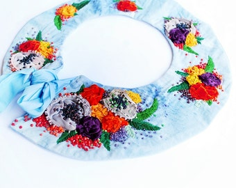 OOak, Hand embroidered , textile fabric, elegant, floral, summer, bohemian, flowers, romantic, statement bohemian collar - My garden