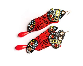 Steampunk, statement oversized, long, asymmetrical, tribal ethnic earrings - I'll be bad!