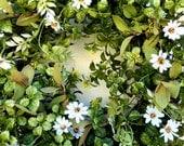 Boxwood Wreath , Spring Wreath , Summer Wreath ,  Outdoor Wreath ,  Wreath For Front Door , Woodland   Wild Flowers