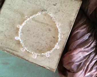 Sundance Style Rose Quartz Faceted Drops & Hill Tribe Fine Silver Layering Bracelet, Delicate Pink Gemstone Stacking Bracelet, Pantone 2016