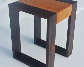 Small modern cherry walnut stool / table