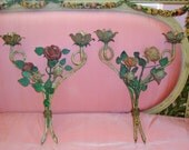 SALE Antique Roses Tole Sconces, Pink Red Yellow Green, Pair, French Cottage Chic, Home Decor