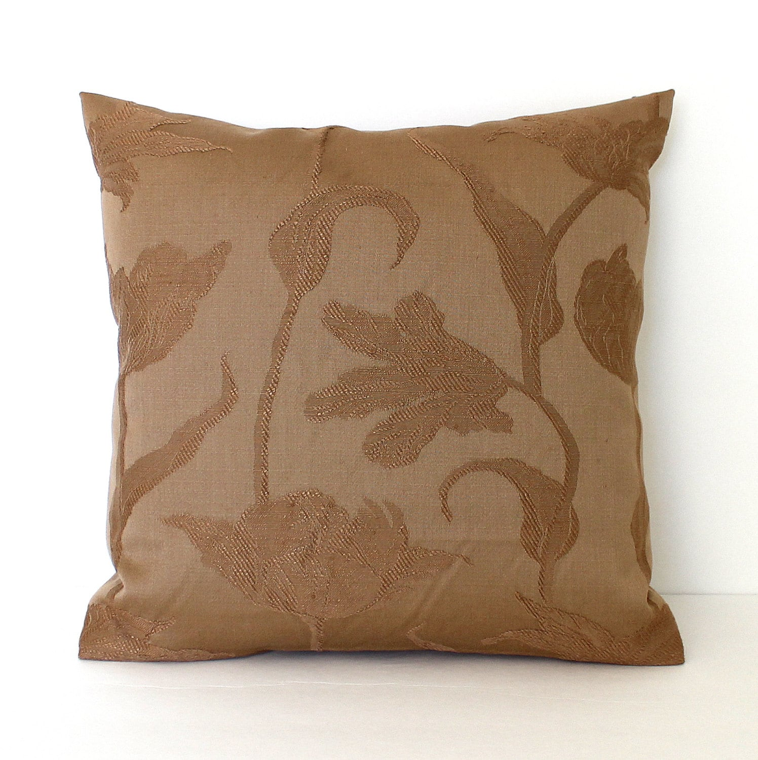 Brown Pillow Cover Floral Upholstery Fabric Decorative Pillow