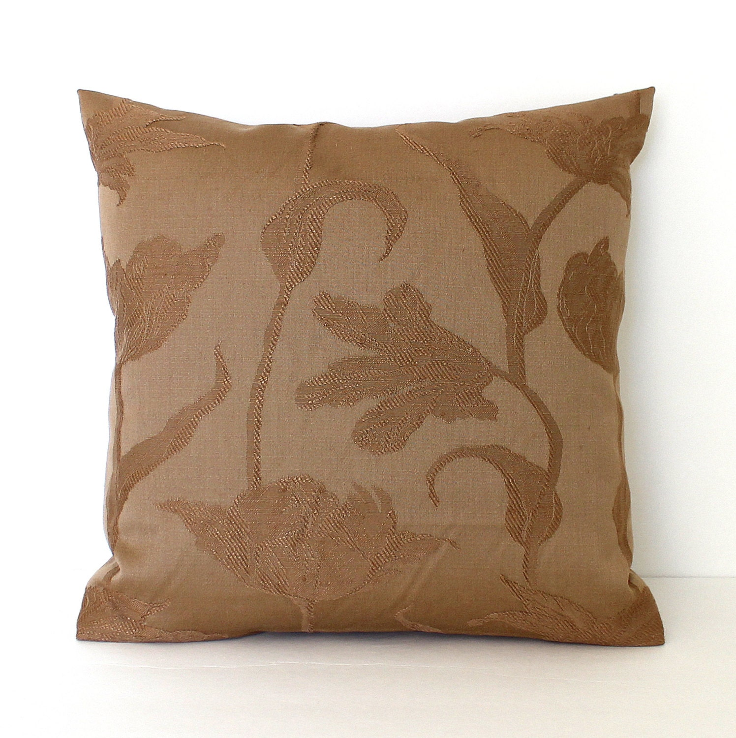 Fabric For Throw Pillow Covers : Brown Pillow Cover Floral Upholstery Fabric Decorative Pillow