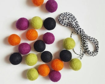 Halloween DIY Felt Ball Garland Kit >>--> 20  2.5 cm Felt balls Chartreuse Green / Orange / Black / Purple + 3 yds Black and White Twine