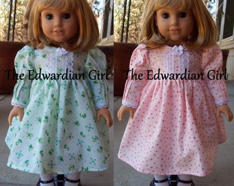 OOAK green or pink Edwardian Titanic era dress for 18 inch play dolls such as American Girl, Springfield, Our Generation. Made in USA