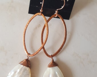 Mother of Pearl Earrings  - Copper  Earrings - Marquise Earrings - Shell Earrings - White & Gold - Lustrous Pearly - Healing Gemstone