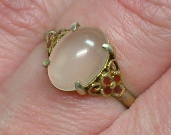 Chinese Moonstone Silver Ring, Vermeil Gold Plated, Delicate and Very Vintage. Size 4, 5 (sl. adjustable)