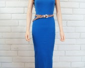 80's RIBBED TANK DRESS vintage baby rib body con maxi dress royal blue S