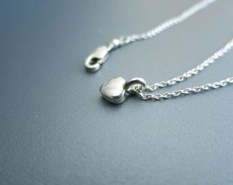 Tiny Heart Charm Necklace Silver Heart Necklace