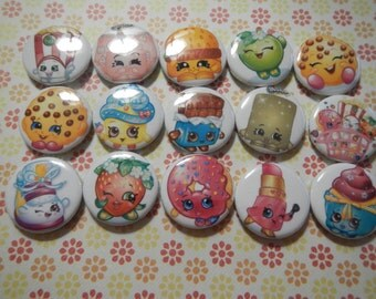 15 Shopkins Inspired Craft Flat Back Embellishment Buttons