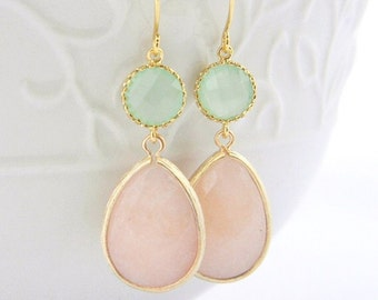 Peach and Mint Earrings Trimmed in Gold-Drop Earrings-Bridesmaid Gift- Wedding Earrings-Dangle Earrings-Peach Mint Jewelry Gift