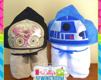 Star Wars droids hooded towel - you choose R2D2 or C3PO  - can be personalized