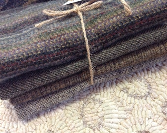 Grays and Browns Wool Bundle, 4) Fat Eighths, W118, Rug Hooking and Applique Wool