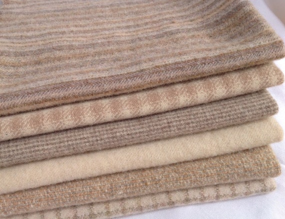 Cream and Brown Sugar, Wool Fabric for Rug Hooking and Applique, 6) pcs, Select-a-Size, J984, Neutrals, Creams, Tans