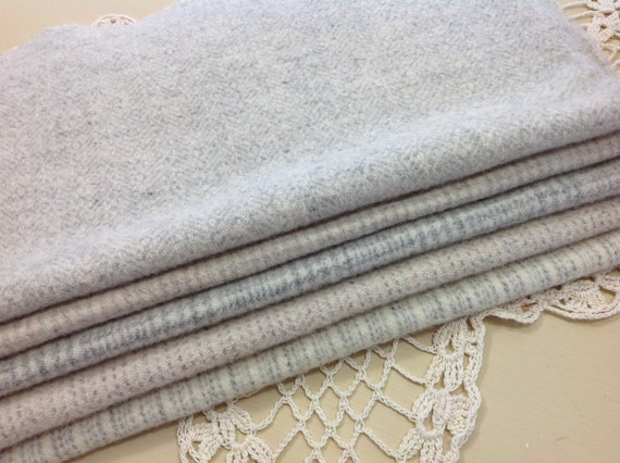 White and Gray Textures,  Wool Fabric for Rug Hooking and Applique, 5 pieces, Select-a-size, 1/8ths or 1/16ths, W105