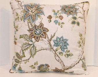 "Tree of Life Pillow - Blue Floral - 18"" Pillow Cover - Ivory - Blue - Brown - Green - Tan"