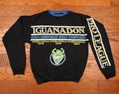 vintage 90s Iguana Don sweatshirt surf surfer Pro League iguanadon lizard surfing youth boys medium 12 14 adult XXS petite 1990
