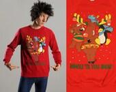 vintage ugly Christmas sweater Mingle 'Til You Jingle with bells reindeer penguin teddy bear mouse jingle bells Christmas jumper L