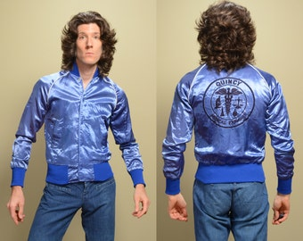 vintage 70s 80s satin bomber jacket Quincy Medical Examiner royal blue satin windbreaker California small S Quincy M. E.