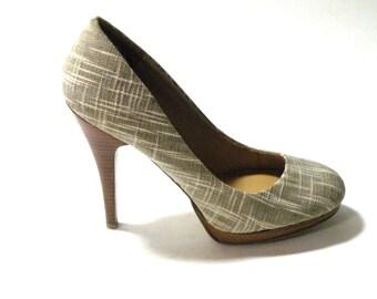 Nine West Linen Taupe Stiletto- High Heel Wedding Shoe 2017 Summer Trends Comfort High Heel Shoes Wedding Shoes Bridesmaid Mother