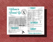 Wedding Weekend Schedule of Events, California Wedding Weekend Itinerary with Welcome Note