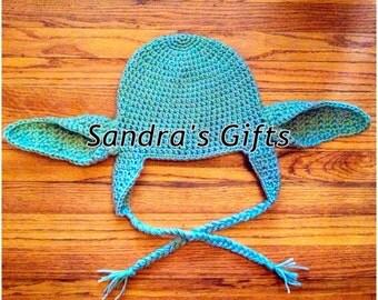 Crochet yoda hat with optional flower 0-4yr