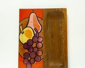 Vintage hand painted enamel on copper, teak cheese cheese cutting board fruit theme, orange, copper, yellow, purple