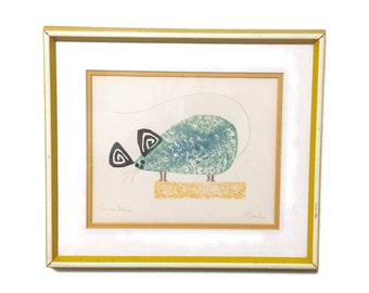 Vintage modernist monotype print The Curious Mouse signed P. French, c1960