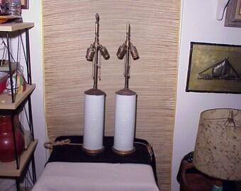 PAIR Vintage Hollywood Regency Asian James Mont Style Lamps  Era blanc-de-chine