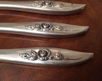 4 Belle Rose Oneida Sterling Silver Dinner Knives Knife 1963