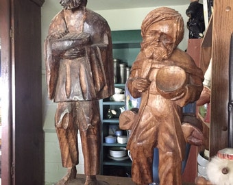 Early Vintage PAIR  Carved Wood Carvings Sculptures Don Quixote & Sancho Panza or Peasants ?