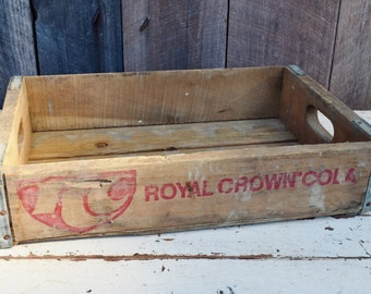 Vintage RC Royal Crown Cola Soda Crate Weathered Wood Red Logos Handles Rustic Primitive Decor Storage