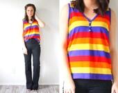 Vintage rainbow 1980's striped tank top // sleeveless shirt top // retro purple, red, yellow, orange // button down tank top // 70's top