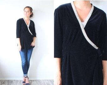 20% OFF BIRTHDAY SALE Vintage Boho long sleeve velvet blouse // crystal black top // wrap blouse // fancy top // velvet blouse // crystal be