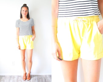 Vintage 80's yellow shorts // yellow high waist shorts // retro old school 80's shorts // summer beach shorts // vacation shorts // XS S