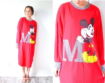 30% OFF out of town SALE Vintage red Mickey mouse nightgown dress // retro disney sweatshirt dress // letter M nighty dress // sweater dress
