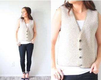 20% OFF HALLOWEEN SALE Vintage boho vest // bohemian navajo tan sweater vest // sweater vest // beige knit vest // tan knit vest Xs sweater