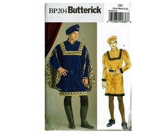 Prince Royalty King Costume Uncut Sewing Pattern Sizes Small Medium Large Chest 34-36 38-40 42-44 Butterick 204 5116 OOP