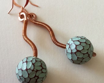 Modern polymer clay bead dangle earrings with copper, wire wrapped