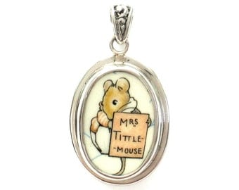 Broken China Jewelry Beatrix Potter Mrs. Tittle Mouse Sterling Oval Pendant