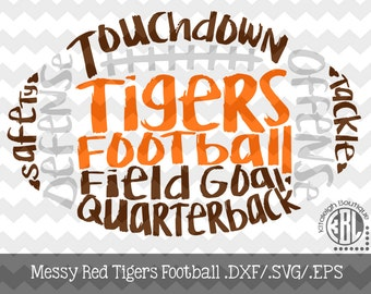 Messy Tigers Football design INSTANT DOWNLOAD in dxf/svg/eps for use with programs such as Silhouette Studio and Cricut Design Space