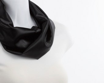 Infinity Scarf - Satiny Solid Black Smooth Black Luster ~ SK218-S5