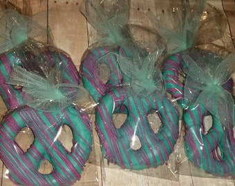 12 chocolate covered pretzel twists under the sea little mermaid party favors