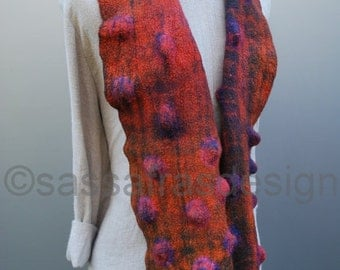 Rusty red scarf, hand dyed, hand felted, OOAK wearable art accessory,  bohemian women's fashion accessories, outstanding handmade cosy shawl