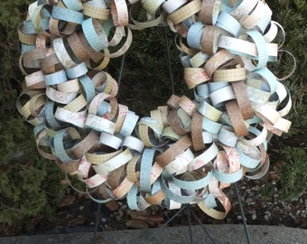 Blue Beige Brown Curly Paper Wreath