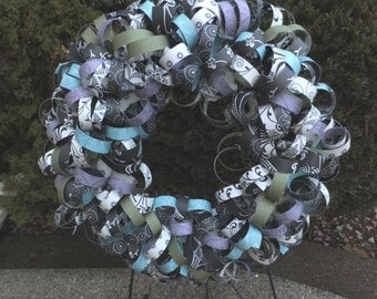Black and White Curly Paper Wreath