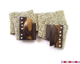 Beige Beaded Stretch Belt with Wood Buckle, Elastic Bead Belt with Wooden Buckle, Bohemian Beaded Belt