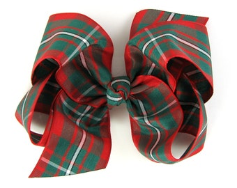 """Red and Green Plaid Hair Bow 4"""" - Tartan Classic Boutique Hairbow 4 Inch - Baby Toddler Girl Christmas Holiday Classic"""